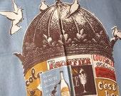 Morris. Vtg MWT Martex kitchen towel / France / Paris advertising / Morris column / rayon cotton linen / never used, excellent condition.