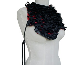 Ruffled Leather Body Harness Statement Bib Necklace Ruffle Leather Scarf Scarlet Red & Black Avant Garde High Fashion Harness, only 1