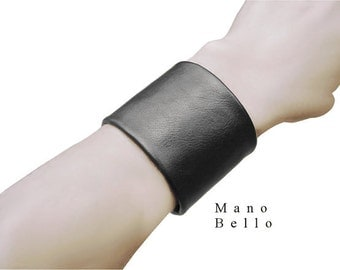 "Black Leather Cuff Leather Wrist Cuff - Most popular cuff style -  Men Women Unisex, Vampire Diaries Goth leather jewelry 1 3/4"" width"
