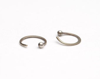 Small Hugging Hoops, Sterling Silver, Simple Hug Earrings, Silver Ball Hoops, Minimalist Jewelry, Hand Made, Gift, EAR026