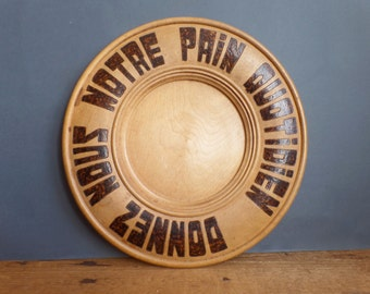 vintage large round wooden plate tray for bread