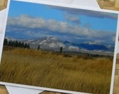 Mountains and Golden Grasses Photo Note Card Montana Scenic Nature Photography