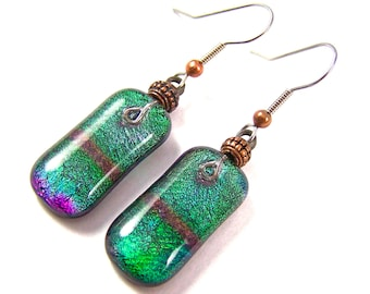 Dichroic Earrings - Tie Dye Dangle Green Emerald Purple Mauve Blue Rainbow Striped Fused Glass - Surgical Steel French Convert to Clip On 1""