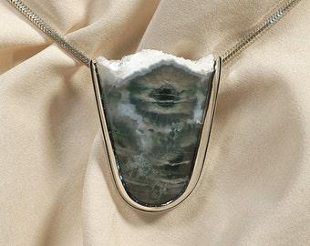 Jasper Quartz Crystal Pendant Necklace in Sterling Silver