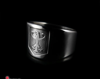 Titanium handmade Men's signet ring with German Bundeswappen