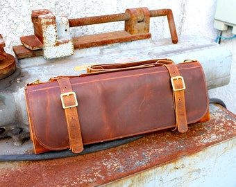 Leather knife roll - Large - Brown