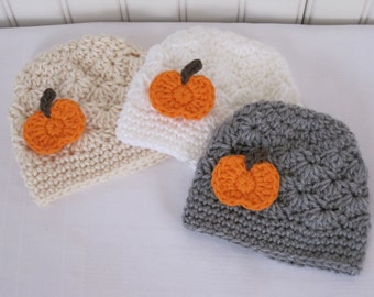 Pumpkin Hat - Baby Hat - Fall Hat - Crochet - Girls Hat - Newborn Hat - Toddler Hat - Hat with Pumpkin - Thanksgiving Hat - Crochet Baby Hat