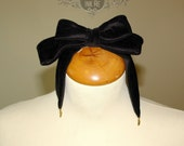 Midnight Rhapsody black velvet headbow double bow with gold moon silver spike dangle pendants Alice bow hair clip large