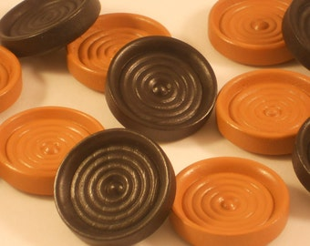 40 Wooden Checkers / Draughts , Wood Playing Pieces