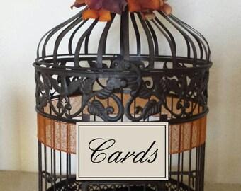 Dark Bronze Round Birdcage -Wedding card holder