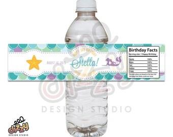 Mermaid Under the Sea Birthday Water Bottle Label - DIY Printable file