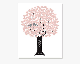 Personalized Housewarming Gift for Bridal Shower Gift for Wedding Gift Love Tree Pink Silver Black - Personalized Art Print Monogram