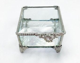 3x3 Glass Box, Elegant Stained Glass Ring Bearer Box, Pillow Alternative, Made from Taffeta Glass, Engagement Ring Box, Summer Wedding
