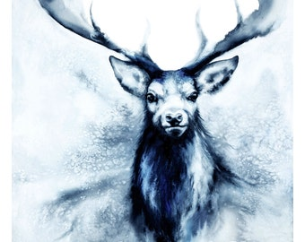 Blue Stag watercolour A3 art print - Feet in Two Worlds in swirling blues, a painting about journeys, animal art