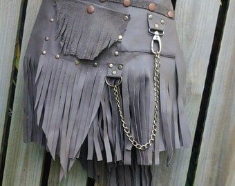"""BURNING MAN leather belt with stud and chain detail...36"""" to 44"""" waist or hips.."""