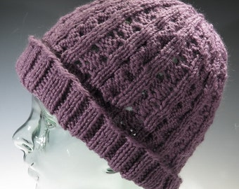 Hat - Pale Purple Beanie Cap - Cables and Lace Knit - Rolled Brim - One Size Fits Most - Hand Knit