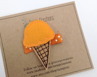 Orange Ice Cream Hair Clip Ice Cream Cone  Felt Hair Clip Girls Hair Clip Feltie Hairclip Hair accessory