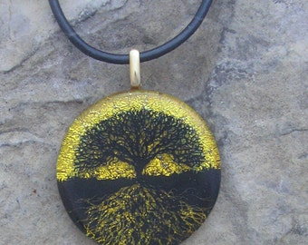 Tree of Life Necklace Dichroic Glass Gold Tree of Life Pendant