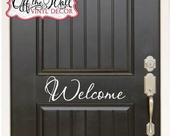 Welcome Front Door Vinyl Lettering Decal Sticker design3