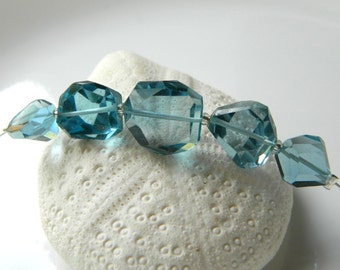 OOAK Stunning Extraordinary Set of 5 AAA London Blue Topaz faceted nuggets beads 10mm x 10mm to 13mm x 12mm