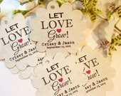 Sets start at 50 Personalized Printed KRAFT Let Love Grow FLOWER Tag