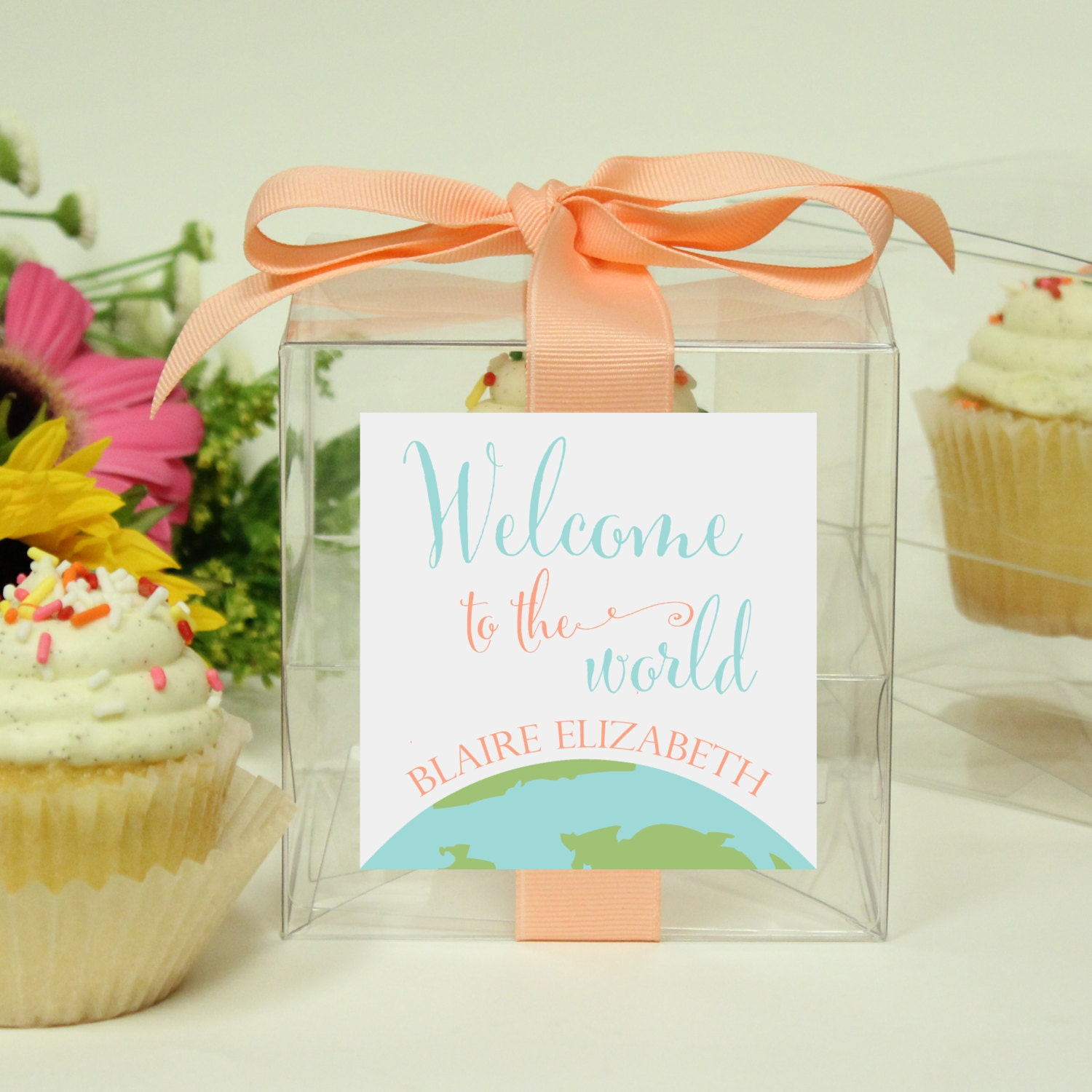baby shower favor cupcake boxes welcome to the world