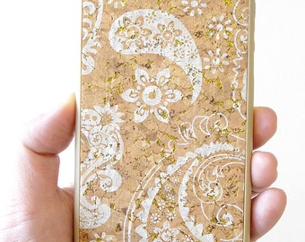 """For Apple Iphone 6 6s 4.7"""" White Paisley Wood Cork TPU Cell Phone Cellular smartphone Mobile hard Case Cover dock charging battery silicone"""