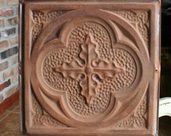 "Antique Ceiling Tile -- 12"" x 12"" -- Rusty Metal Patina - Deeply Embossed with a Pretty Design"