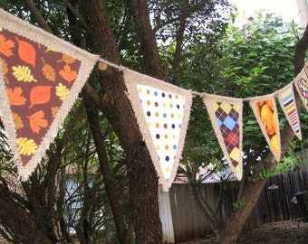 Fall Burlap Banner, Fall Decor, Fall Burlap Garland, Fall Pennant, Autumn Banner, Autumn Bunting, Thanksgiving Decor, Thanksgiving Banner