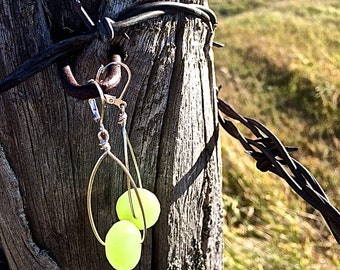 Silver Hoops with Chartreuse Green Glass