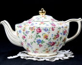 James Sadler Chintz Teapot - Shabby Wildflowers Transferware 12799