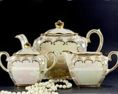 Pearlized Cube Sadler Teapot, Tea Pot Creamer & Sugar, Opalescent Tea Set Made in England 16234