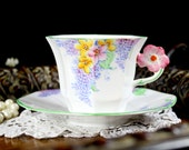 1932 Melba Flower Handle Teacup, Lilac Time Octagonal Tea Cup and Saucer 12729