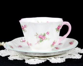 Shelley MISMATCHED Tea Cup and Saucer - Bridal Rose Teacup and Rosebud Saucer 12795