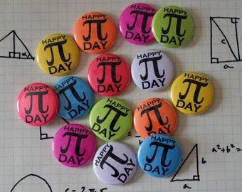 "Party Pack: 25 Pi Day Colorful Nerdy Geeky Math 1"" Pinback Button"