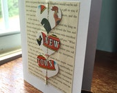Newtown CT Rooster Upcycled Greeting Card Blank Inside