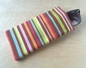 Pinch top fabric sunglass case, sunglass pouch, eyeglass case - Pastel Stripe