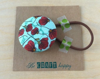 Button ponytail holder - Red Peony