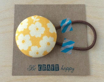 Button ponytail holder - Yellow Floral
