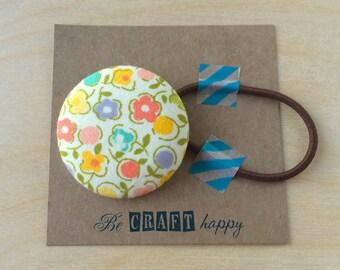 Button ponytail holder - Garden of Posies