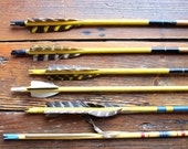 Archery Season... Set of 6 Vintage Yellow Wooden Arrows, Feathers