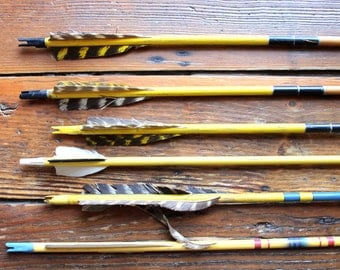 Archery Season... Set of 6 Vintage Yellow Wooden Arrows, Feathers