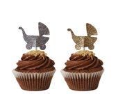 12 Baby Carriage Cupcake Toppers, Baby Shower Decorations - No1124