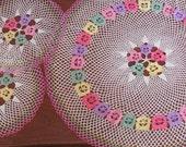 Vintage 40's Handmade Rainbow Crochet Doilies - set of 3 - Doily - Granny Chic - Home Decor - Kitchen Table - Centerpiece - Coaster