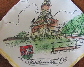 Vintage Rudesheim am Rhein Niederwalddenkmal Nylon Handkerchief - Kitsch - Hankie - Souvenir - Memorabilia - Germany