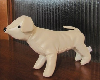 Vintage Creamy White Vinyl Puppy Dog Stuffed Animal - Toy - Jo Jack - Collectible