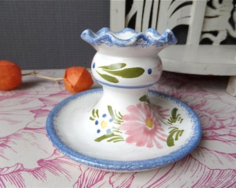 French Vintage Hand Painted Candle Holder QUIMPER