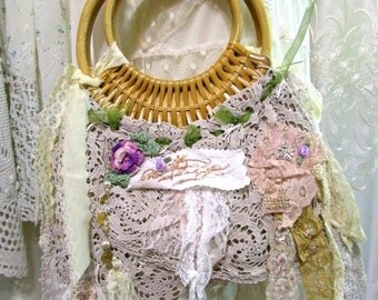Lacy Macrame Handbag, shabby and chic purse cottage chic rattan woodland fairy nature mori girl purse, romantic vintage lace doily