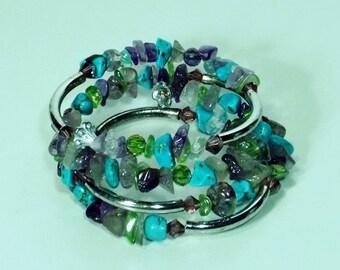 Amethyst, Green Aventurine and Blue Turquoise Gemstone Bracelet