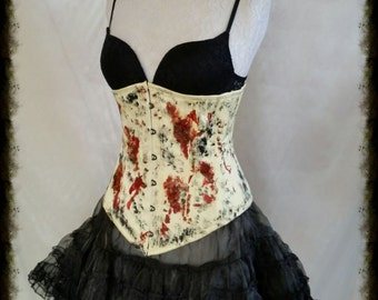 "Sale ZOMBIE  Overbust Corset  26""  waist  Corset  Gothic By Gothic Burlesque"